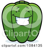 Clipart Happy Green Bell Pepper Character Royalty Free Vector Illustration