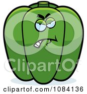 Clipart Angry Green Bell Pepper Character Royalty Free Vector Illustration
