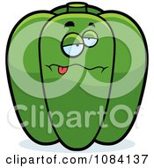 Clipart Sick Green Bell Pepper Character Royalty Free Vector Illustration