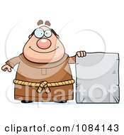Clipart Chubby Monk With A Tablet Royalty Free Vector Illustration