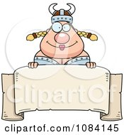 Clipart Chubby Female Viking Over A Banner Royalty Free Vector Illustration