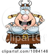 Clipart Chubby Female Viking With An Idea Royalty Free Vector Illustration