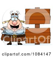 Clipart Chubby Female Viking With Signs Royalty Free Vector Illustration