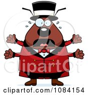 Clipart Scared Chubby Flea Circus Master Royalty Free Vector Illustration by Cory Thoman