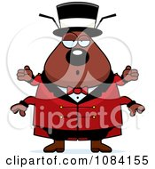 Clipart Shrugging Chubby Flea Circus Master Royalty Free Vector Illustration by Cory Thoman