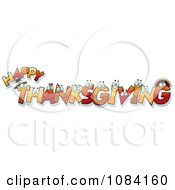 Clipart Happy Thanksgiving Letter Characters Royalty Free Vector Illustration