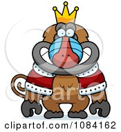 Clipart King Baboon Wearing A Crown And Robe Royalty Free Vector Illustration