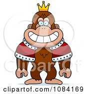 Clipart King Bigfoot Wearing A Crown And Robe Royalty Free Vector Illustration