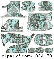 Clipart Brown And Turquoise Vintage Numbers Royalty Free Vector Illustration