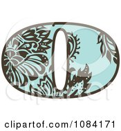 Clipart Brown And Turquoise Vintage Number 0 Royalty Free Vector Illustration
