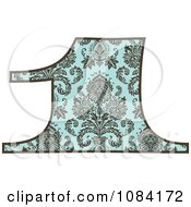 Clipart Brown And Turquoise Vintage Number 1 Royalty Free Vector Illustration