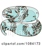 Clipart Brown And Turquoise Vintage Number 2 Royalty Free Vector Illustration