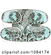 Clipart Brown And Turquoise Vintage Number 3 Royalty Free Vector Illustration