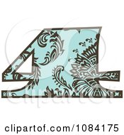Clipart Brown And Turquoise Vintage Number 4 Royalty Free Vector Illustration