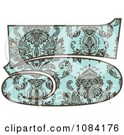Clipart Brown And Turquoise Vintage Number 5 Royalty Free Vector Illustration