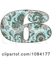 Clipart Brown And Turquoise Vintage Number 6 Royalty Free Vector Illustration