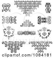 Clipart Black And White Vintage Design Elements Royalty Free Vector Illustration