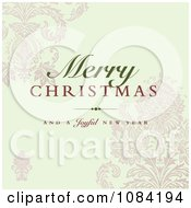 Clipart Merry Christmas And A Joyful New Year Greeting Over Damask Royalty Free Vector Illustration by BestVector
