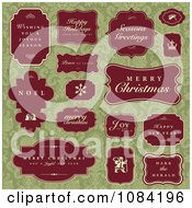 Red Christmas Greetings And Labels On Green Damask