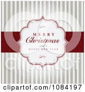 Clipart Merry Christmas And A Happy New Year Greeting Over Stripes Royalty Free Vector Illustration