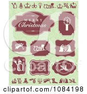 Clipart Red Christmas Greetings And Labels On Green Royalty Free Vector Illustration