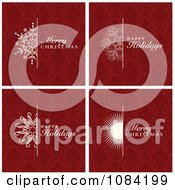 Clipart Red Christmas Greetings With Damask Backgrounds Royalty Free Vector Illustration