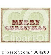 Clipart Vintage Merry Christmas Greeting Over A Green Floral Pattern Royalty Free Vector Illustration