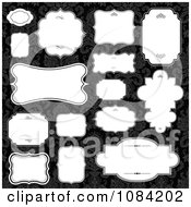 Clipart White Black Frames On Black Damask Royalty Free Vector Illustration by BestVector