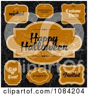 Clipart Orange Halloween Label Design Elements On Black Damask Royalty Free Vector Illustration