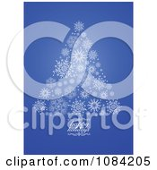 Clipart Blue Happy Holidays Snowflake Christmas Tree Royalty Free Vector Illustration by BestVector