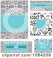 Clipart Blue And Distressed Black And White Victorian Pattern Wedding Invitation Elements Royalty Free Vector Illustration