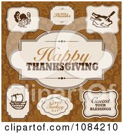 Clipart Happy Thanksgiving Frame Design Elements Royalty Free Vector Illustration