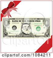 Clipart Christmas Santa Dollar Bill And Gift Ribbons Royalty Free Vector Illustration