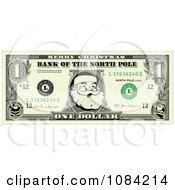 Clipart christmas santa dollar bill and gift ribbons royalty free