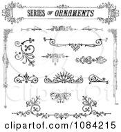 Clipart Black And White Vintage Ornamnetal Design Elements Royalty Free Vector Illustration