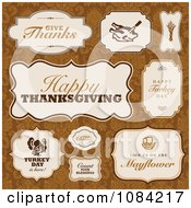 Clipart Thanksgiving Greeting Labels On Orange Damask Royalty Free Vector Illustration by BestVector