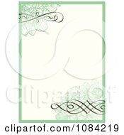 Clipart Green Flower And Swirl Frame Invitation Background Royalty Free Vector Illustration