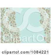 Clipart Tan Vines Over Blue Invitation Background Royalty Free Vector Illustration by BestVector