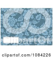 Clipart White Text Bar And Blue Floral Invitation Background Royalty Free Vector Illustration