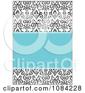 Clipart Blue And Distressed Black And White Victorian Pattern Invitation Background Royalty Free Vector Illustration