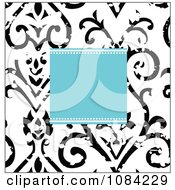 Blue Square And Distressed Black And White Victorian Pattern Invitation Background