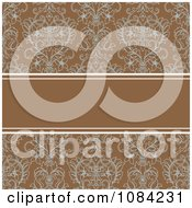 Clipart Brown Floral Pattern And Text Bar Invitation Background Royalty Free Vector Illustration