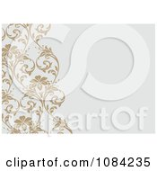 Clipart Diagonal Tan Vine And Gray Invitation Background Royalty Free Vector Illustration