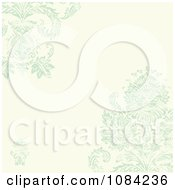 Clipart Green Distressed Damask And Cream Invitation Background Royalty Free Vector Illustration