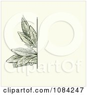 Green Leaves Invitation Background On Cream 1