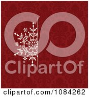 Clipart White Snowflake Invitation Background On A Red Pattern 1 Royalty Free Vector Illustration by BestVector
