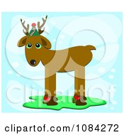 Reindeer Wearing A Hat On Blue