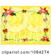 Clipart Red Poinsettia Frame Over Yellow Royalty Free Vector Illustration