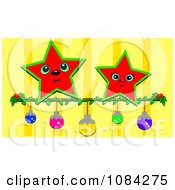 Red Stars Over Christmas Baubles On Yellow