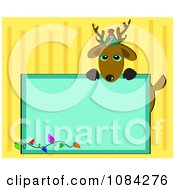 Reindeer Over A Blue Christmas Sign On Yellow